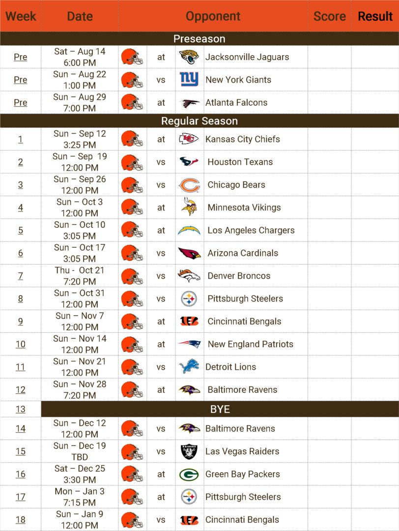 browns schedule 2021